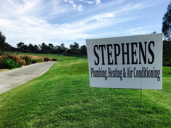 Stephens Plumbing Sign on Golf Course for Boys & Girls Club Golf Tournament - Old Ranch Country Club in Seal Beach