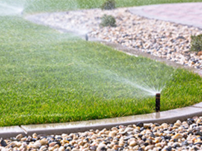 sprinkler-activated-for-front-lawn